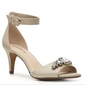 Golden Rhinestone Evening Shoe