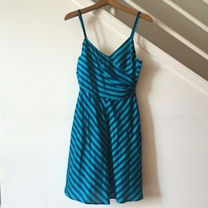 Navy and turquoise striped Corey Lynn Calter dress