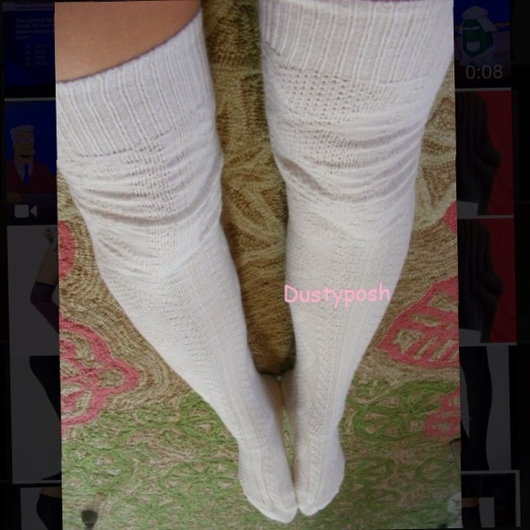 Knitting Pattern For Thigh High Socks : 9% off Dustyposh Accessories - White Cable Knit Thigh High ...