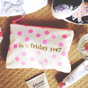 Forever 21 Handbags - Cream & Pink Polka Dot Zip Pouch