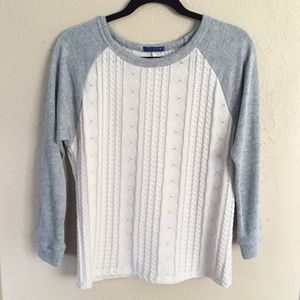 Sweet Claire Sweaters - Beige & Grey Chunky Knit Sweater