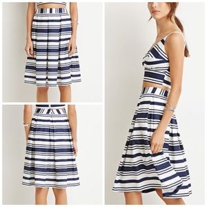 Forever 21 Dresses & Skirts - Navy & White Multi Stripe Pleated Skirt