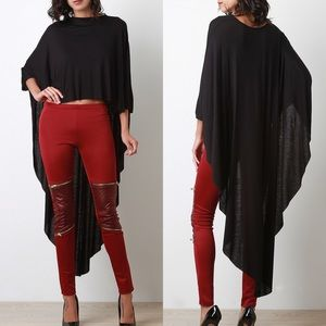 "X ""Another Moon"" Maxi Poncho High Low Top"