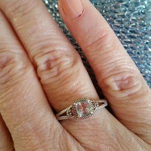 💍 925 SILVER, DIAMOND, AND BLUE GEMSTONE RING