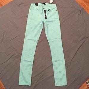 Forever21 Mint Green Polka Dot Skinny Jeans NWT