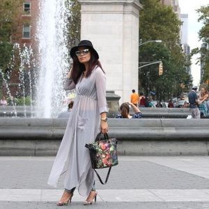 Gray sheer shirt maxi dress