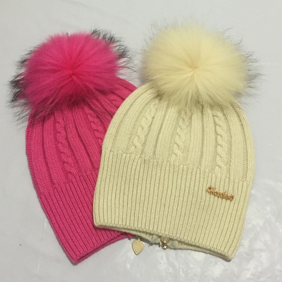 21e951d902d Moschino Accessories - Two Moschino wool hats with raccoon fur Pom Pom