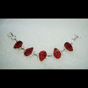 handmade & handcrafted gemstone jewelry Jewelry - Fire Red Rough Beads Statement Bracelet 8- 8 1/2""