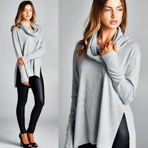 """Anonymous"" Cowl Neck Long Sleeve Top"