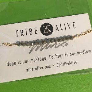 Tribe Alive Glass Bead Bracelet Grey Jade