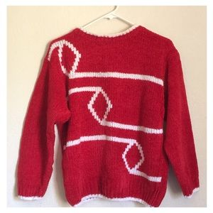 Lovely Red Sweater with White Abstract Design