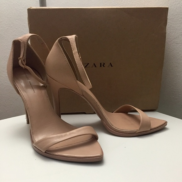 75c46cf53ba ZARA Minimalist Barely There Nude Strap Heels. M 5647bde1f09282b07300bf46