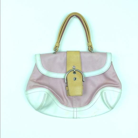 96% off Coach Handbags - Coach pink white L3J4432 purse from ...