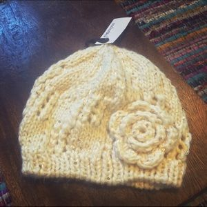 Ivory and Gold Knit Beanie 