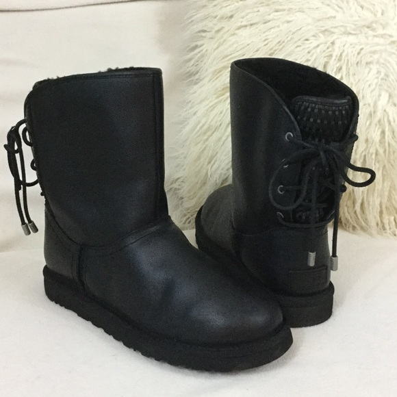 fb206341fda UGG BRAND NEW Black leather Mariana Lace up boots
