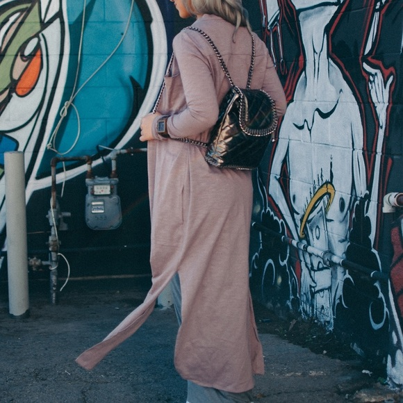 Jackets & Coats - DUSTY PINK MAXI SHIRT DRESS