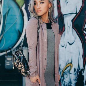 Jackets & Coats - DUSTY PINK MAXI SHIRT DRESS