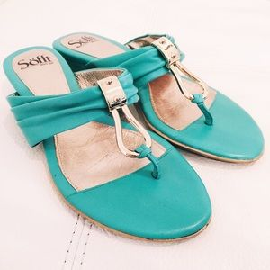 Sofft leather gold and light teal T-strap sandals