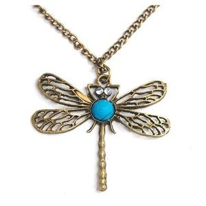 Vintage bronze dragonfly turquoise necklace
