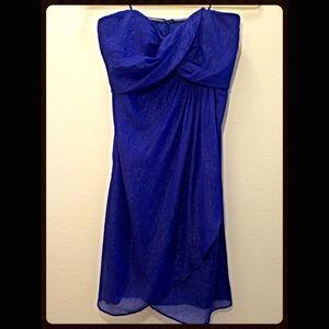 Nicole Miller blue sparkle strapless flowy dress