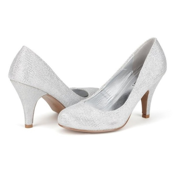 50% off Dream Pairs Shoes - Super glittery 3.5 inch silver heels