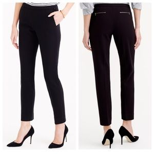J.crew Back Zip Pants in Bonded Crepe, Black