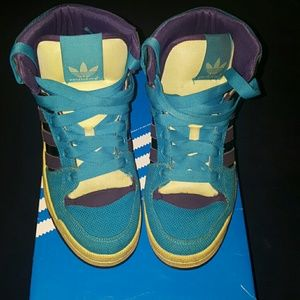 *SOLD* Adidas game mid turquoise purple sneakers