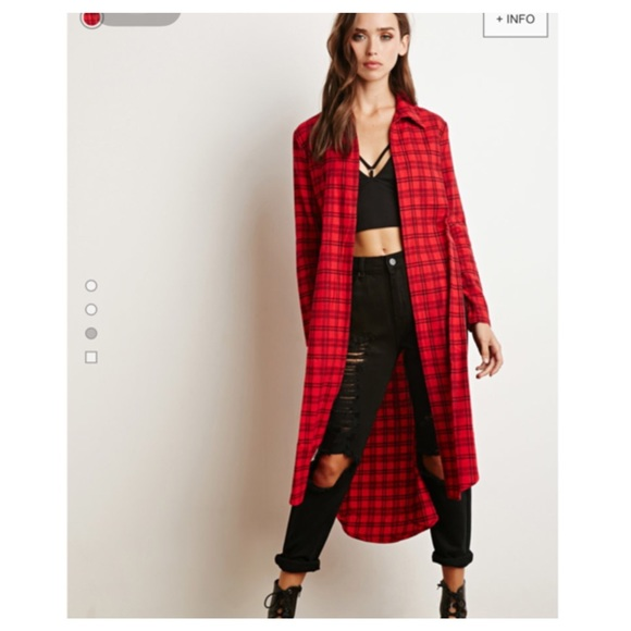 Forever 21 - Red & Black Plaid Flannel Duster Cardigan from Eve's ...