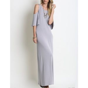 """Distraction"" Cold Shoulder Maxi Dress"