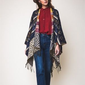 """Dreams"" Navy Blue Poncho Wrap Shrug"