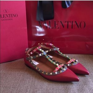 Valentino Shoes - Valentino Multi Caged Rockstud Flat