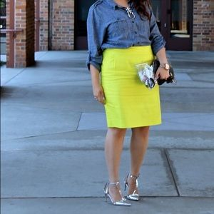 J.Crew Factory Dresses & Skirts - J.Crew Bright Yellow Cotton Pencil Skirt