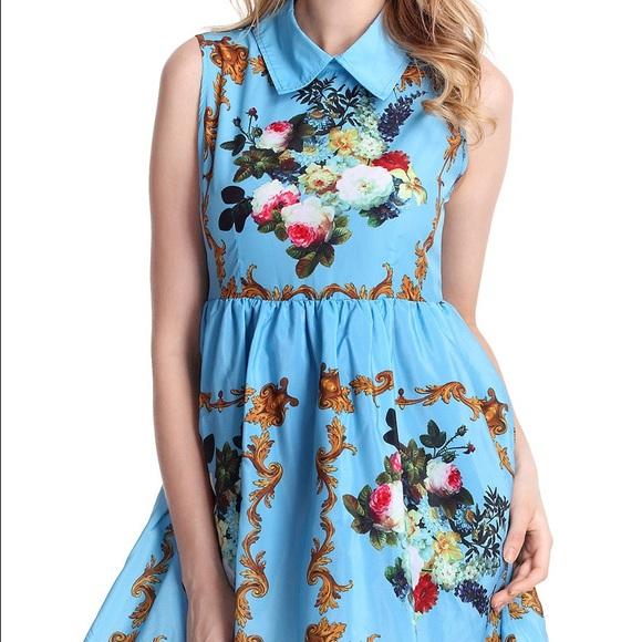 99ddcdd821d Romwe blue floral collar dress. M 564ecbec87dea0eb2f00e0ad