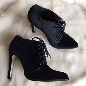 Shoe Dazzle Shoes - Black Velvet Lace Up Pointed Toe Booties