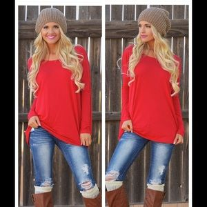 NEW Stylish Red Loose Fitting Tunic Top❤️