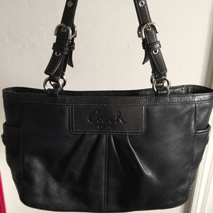 Coach Black Pleated Leather Gallery Tote