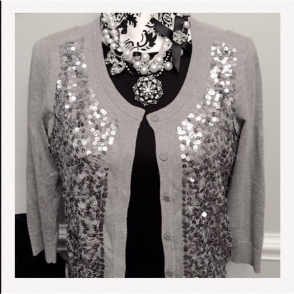 80% off Talbots Sweaters - Talbots Gray Silver Sequin Cardigan ...