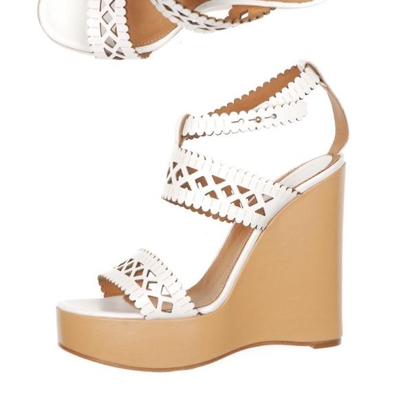c88c4d008 Chloe Shoes - Chloe white leather laser cut wedges