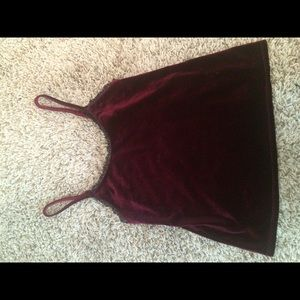 Velvet burgundy and black lace tank top
