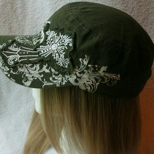 Army green Hat with Cross on hat