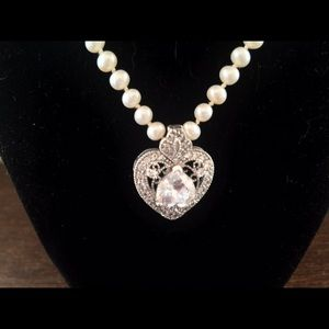 Jewelry freshwater pearl necklace with cz heart enhancer poshmark jewelry freshwater pearl necklace with cz heart enhancer aloadofball Image collections
