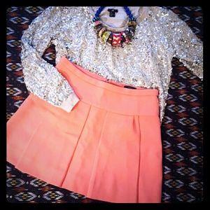 J.Crew Bright Pink Pleated Mini Skirt. Size 10
