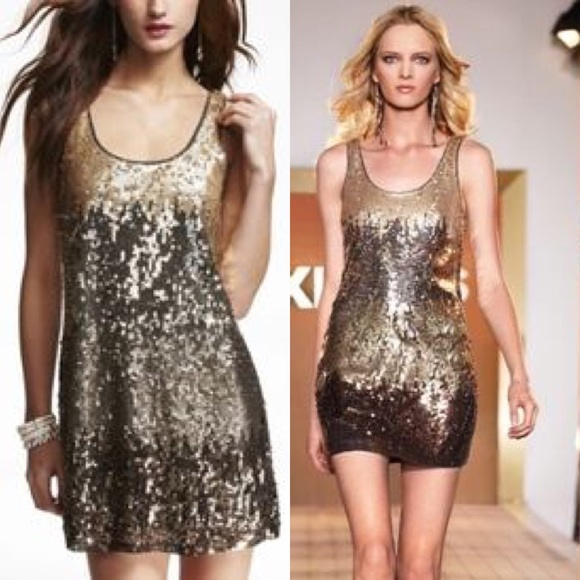 1fc8843aa414  EXPRESS  Multicolored gold sequin dress NWT