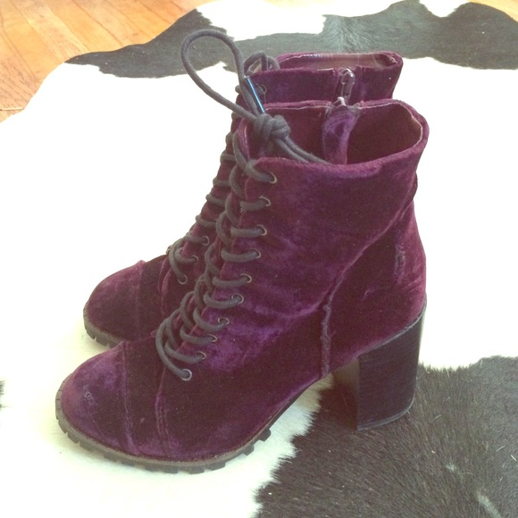 velvet lace up ankle boots