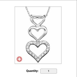 14k white gold diamond accent heart necklace