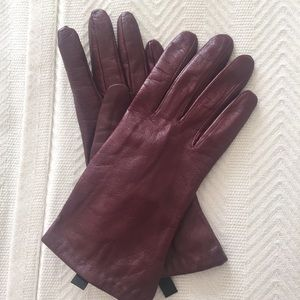 Maroon Leather Gloves