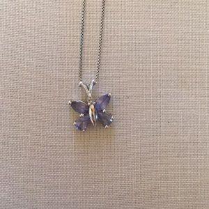 Butterfly pendant Tanzanite/diamond