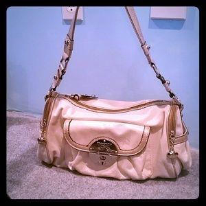 Tan Gold Glitter Fleur de lis handbag purse