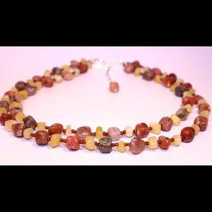 Gemstone necklace double stranded