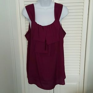 Purple/Burgundy Flowy Blouse with ruffle detail